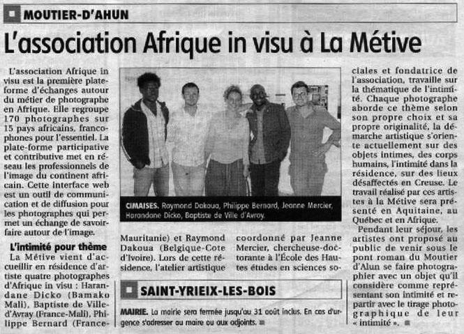Samedi 16 août 2008, article paru dans La Montagne